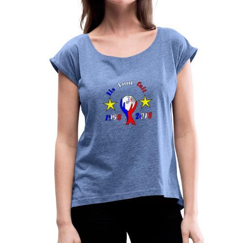 coupe du monde France 2018 football les bleus - T-shirt à manches retroussées Femme