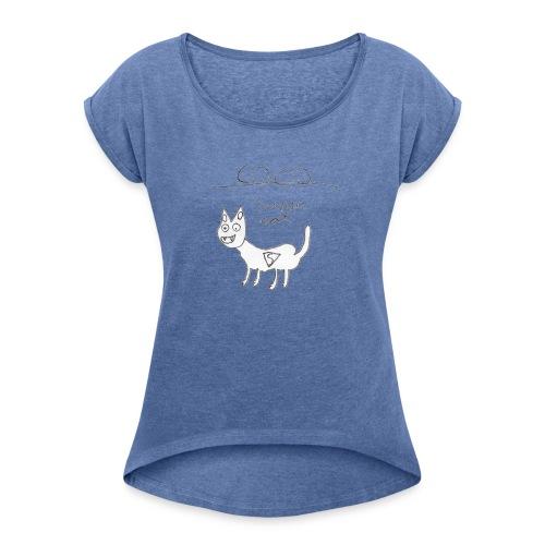 Super cat - Camiseta con manga enrollada mujer