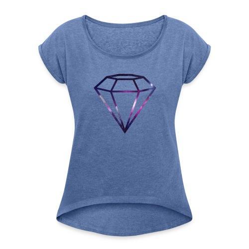 Galaxy Diamond - T-skjorte med rulleermer for kvinner