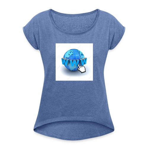 14821565-Internet-world-wide-web-concept-Earth-glo - T-shirt med upprullade ärmar dam