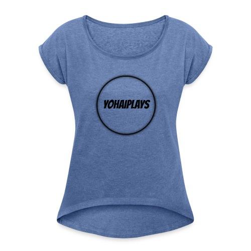 Sirkel logo - T-skjorte med rulleermer for kvinner