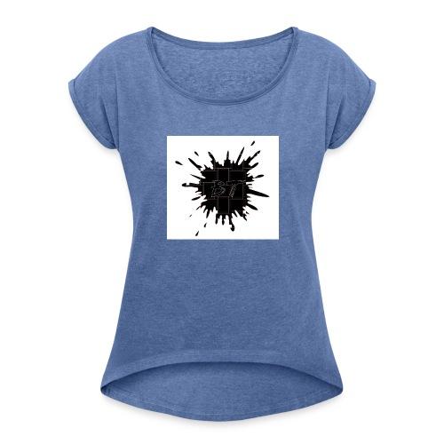 Blacktuber Splash Logo - Vrouwen T-shirt met opgerolde mouwen