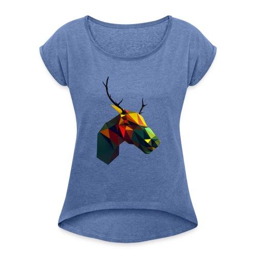 Peura - Naisten T-paita, jossa rullatut hihat