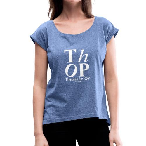 Großes Logo WEISS - Frauen T-Shirt mit gerollten Ärmeln