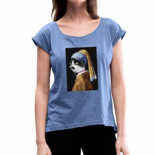 Micia Old Painting - Maglietta da donna con risvolti