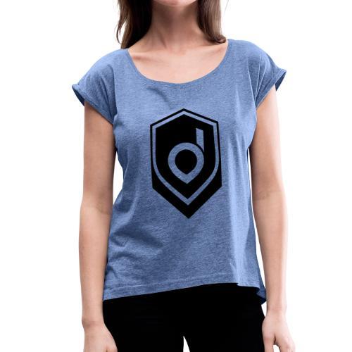 Logo Schwarz Inverted - Frauen T-Shirt mit gerollten Ärmeln