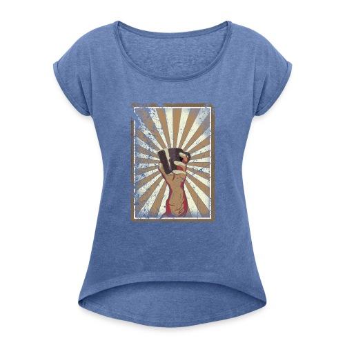 Coffee revolution! - Vrouwen T-shirt met opgerolde mouwen