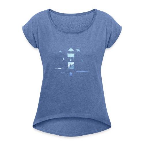 Leuchtturm Wellen - Frauen T-Shirt mit gerollten Ärmeln
