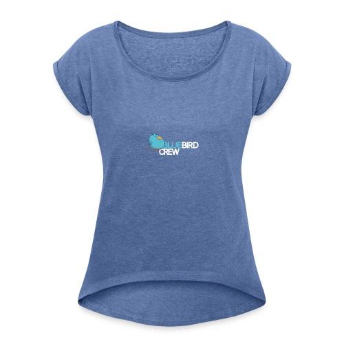 BlueCird Logo White - Frauen T-Shirt mit gerollten Ärmeln