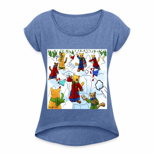 Christmas Snowball Cats 2 - Women's T-Shirt with rolled up sleeves