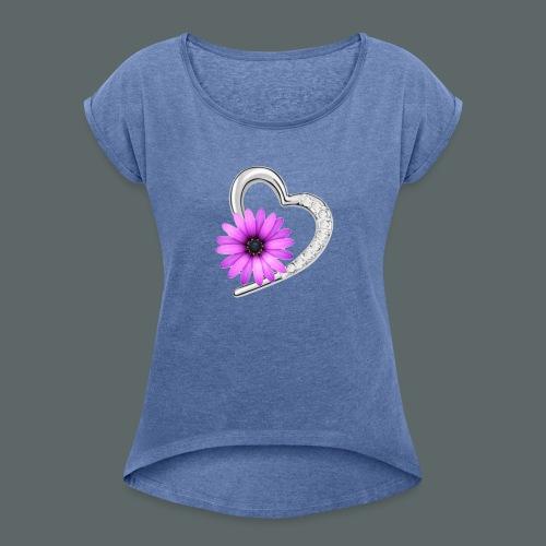 Schmuckherz mit Blume - Frauen T-Shirt mit gerollten Ärmeln