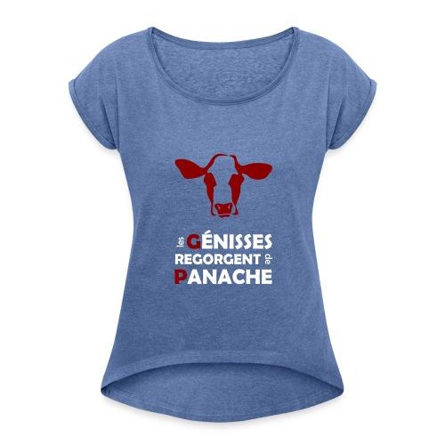 White & red Panache - T-shirt à manches retroussées Femme