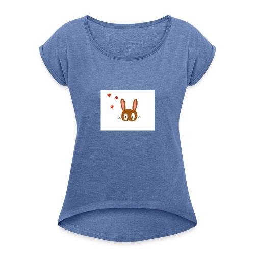 Le lapin amoureux - T-shirt à manches retroussées Femme