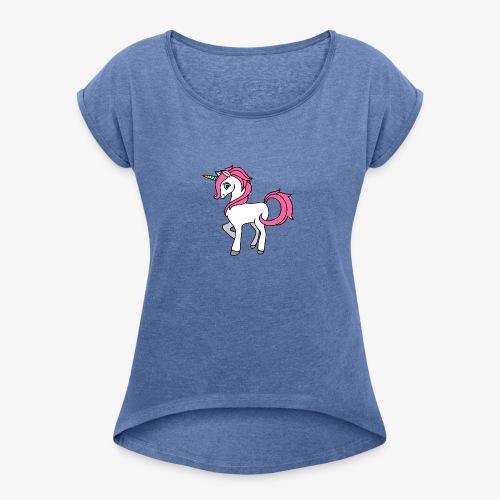 Süsses Einhorn mit rosa Mähne und Regenbogenhorn - Frauen T-Shirt mit gerollten Ärmeln