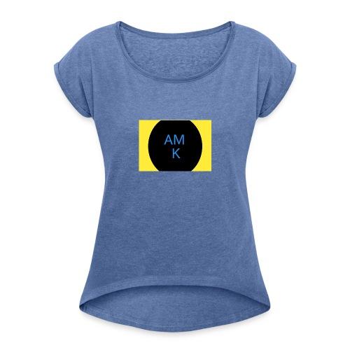 AMK - Vrouwen T-shirt met opgerolde mouwen
