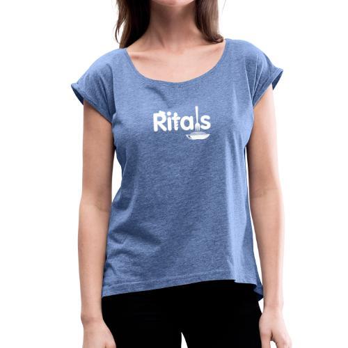 Logo Ritals bianco negativo - Maglietta da donna con risvolti
