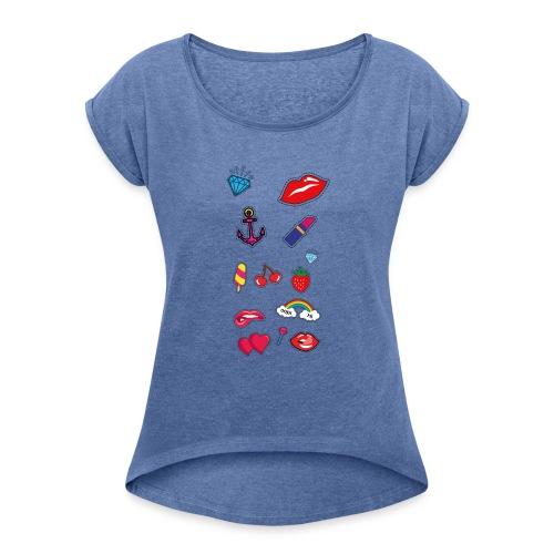 ecussons pop - T-shirt à manches retroussées Femme