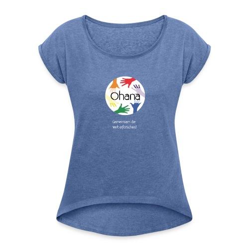 Logo mit weißem Text - Frauen T-Shirt mit gerollten Ärmeln