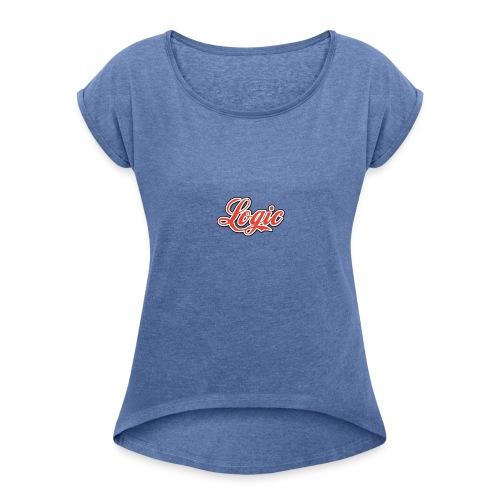 Logic Merch - T-shirt med upprullade ärmar dam