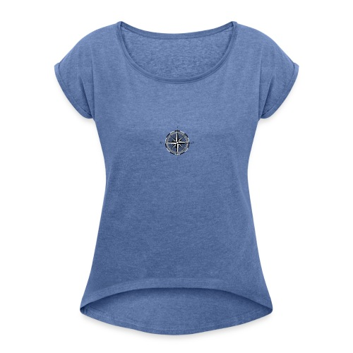 Kompass - Frauen T-Shirt mit gerollten Ärmeln