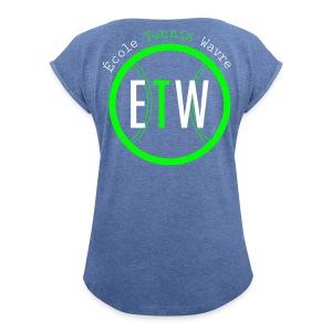 logo rond tennis vert - T-shirt à manches retroussées Femme