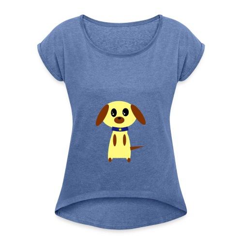 Dog Cute - Frauen T-Shirt mit gerollten Ärmeln