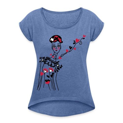 kleine Frau der Herzen - Frauen T-Shirt mit gerollten Ärmeln