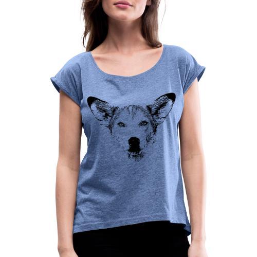 Podenco-Mischling / Hunde Design Geschenkidee - Frauen T-Shirt mit gerollten Ärmeln