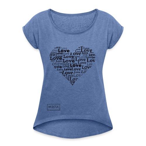 MISTA Logo - Frauen T-Shirt mit gerollten Ärmeln