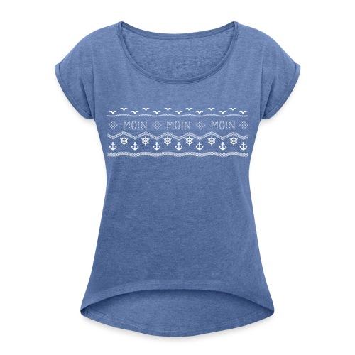 Muster Nordisch Maritim - Frauen T-Shirt mit gerollten Ärmeln