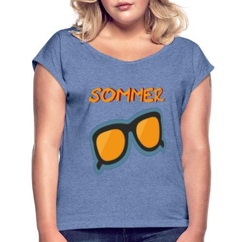 Sommer Sonnenbrille - Frauen T-Shirt mit gerollten Ärmeln
