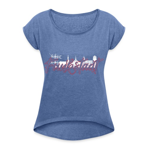 Funkstadt Nauen white / red - Frauen T-Shirt mit gerollten Ärmeln