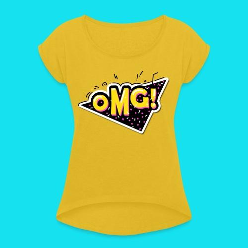 OMG! - Camiseta con manga enrollada mujer