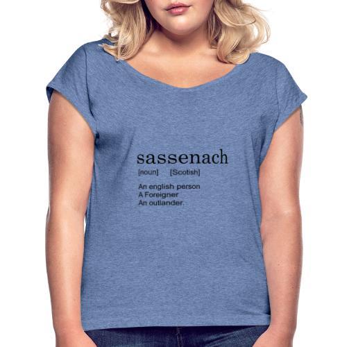 Sassench - Camiseta con manga enrollada mujer