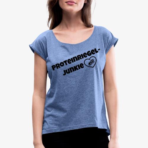 Proteinriegel Junkie Logo mit Riegelherz - Frauen T-Shirt mit gerollten Ärmeln