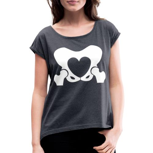 Love Your Hips Logo - Women's T-Shirt with rolled up sleeves