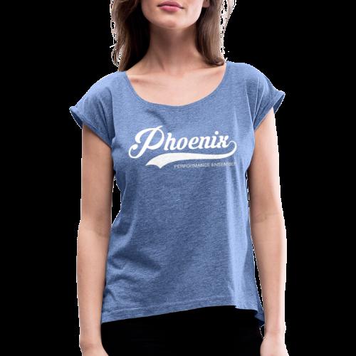 Phoenix Retro White - Frauen T-Shirt mit gerollten Ärmeln