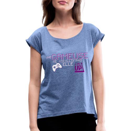 Gameuse Pixel - T-shirt à manches retroussées Femme