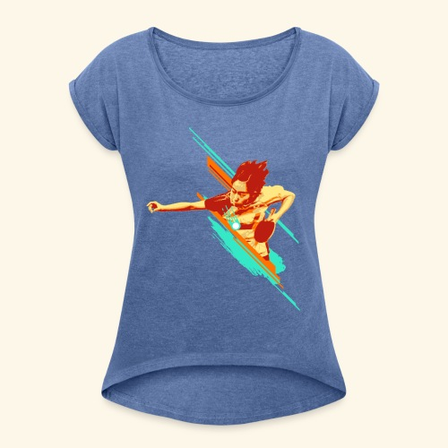 Just believe that you can achieve it, keep playing - Frauen T-Shirt mit gerollten Ärmeln
