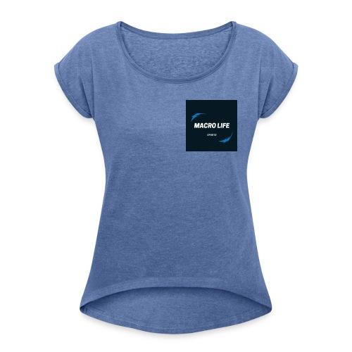 MacroLife Sports - Camiseta con manga enrollada mujer