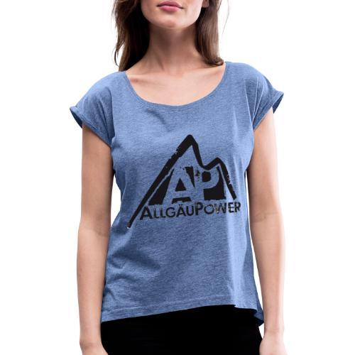 ALLGAEUPOWER LOGO 3 - Frauen T-Shirt mit gerollten Ärmeln