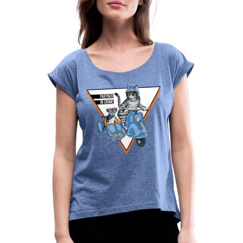 Partner in Crime - Cat & Dog - Frauen T-Shirt mit gerollten Ärmeln