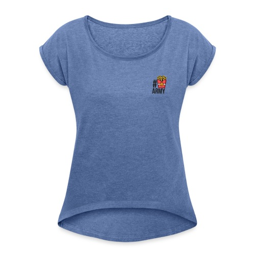 #POMMES-Army Design - Frauen T-Shirt mit gerollten Ärmeln