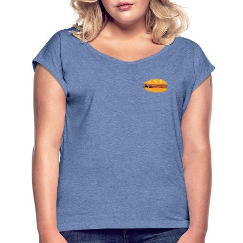 BroodjeBaksteen - Vrouwen T-shirt met opgerolde mouwen