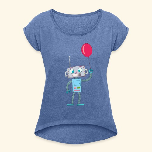 Cute Robot Kids Tees - Women's T-Shirt with rolled up sleeves