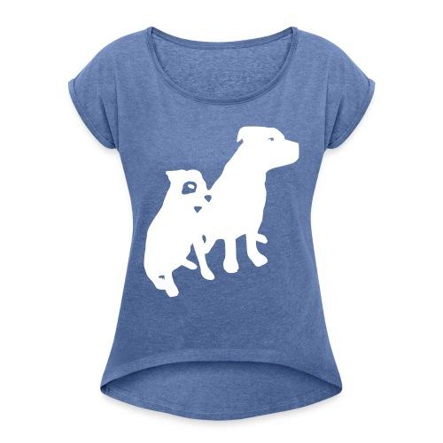 Doggy / zwei brave Hunde zum verschenken - Frauen T-Shirt mit gerollten Ärmeln