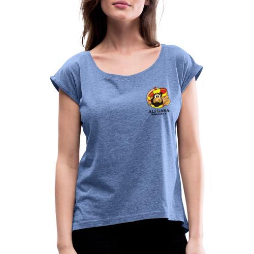 Textilien - Einzelner Druck mit schwarzer Schrift - Frauen T-Shirt mit gerollten Ärmeln