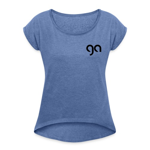 Logo Gymnasium Altlünen schwarz - Frauen T-Shirt mit gerollten Ärmeln