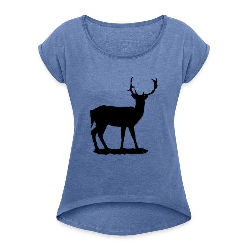 Silueta ciervo en negro - Camiseta con manga enrollada mujer
