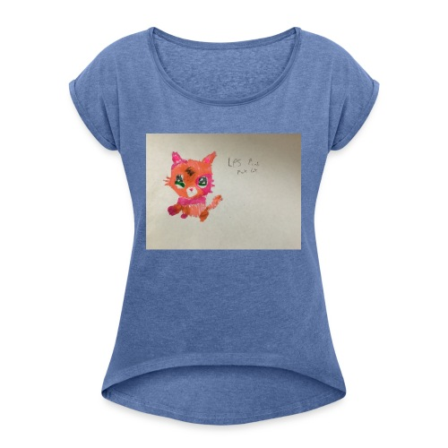Little pet shop fox cat - Women's T-Shirt with rolled up sleeves